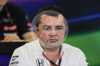 World © Octane Photographic Ltd. FIA Team Personnel Press Conference. Friday 23rd October 2015, F1 USA Grand Prix, Austin, Texas - Circuit of the Americas (COTA). McLaren Honda Racing Director – Eric Boullier Digital Ref: 1462LB1D9783