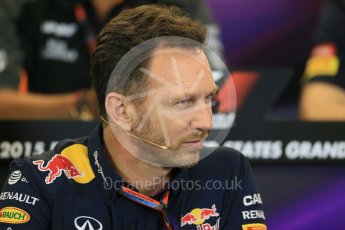 World © Octane Photographic Ltd. FIA Team Personnel Press Conference. Friday 23rd October 2015, F1 USA Grand Prix, Austin, Texas - Circuit of the Americas (COTA). Infiniti Red Bull Racing Team Principal – Christian Horner. Digital Ref: 1462LB1D9794