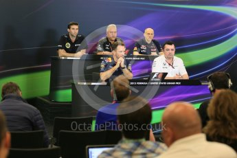 World © Octane Photographic Ltd. FIA Team Personnel Press Conference. Friday 23rd October 2015, F1 USA Grand Prix, Austin, Texas - Circuit of the Americas (COTA). McLaren Honda Racing Director – Eric Boullier, Lotus F1 Team CEO – Matthew Carter, Infiniti Red Bull Racing Team Principal – Christian Horner, Sahara Force India Team Principal – Vijay Mallya, Scuderia Toro Rosso – Franz Tost. Digital Ref: 1462LB5D3038