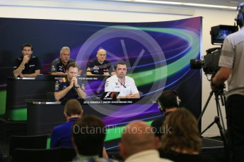 World © Octane Photographic Ltd. FIA Team Personnel Press Conference. Friday 23rd October 2015, F1 USA Grand Prix, Austin, Texas - Circuit of the Americas (COTA). McLaren Honda Racing Director – Eric Boullier, Lotus F1 Team CEO – Matthew Carter, Infiniti Red Bull Racing Team Principal – Christian Horner, Sahara Force India Team Principal – Vijay Mallya, Scuderia Toro Rosso – Franz Tost. Digital Ref: 1462LB5D3042