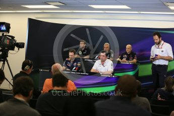 World © Octane Photographic Ltd. FIA Team Personnel Press Conference. Friday 23rd October 2015, F1 USA Grand Prix, Austin, Texas - Circuit of the Americas (COTA). McLaren Honda Racing Director – Eric Boullier, Lotus F1 Team CEO – Matthew Carter, Infiniti Red Bull Racing Team Principal – Christian Horner, Sahara Force India Team Principal – Vijay Mallya, Scuderia Toro Rosso – Franz Tost. Digital Ref: 1462LB5D3046