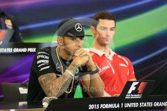 World © Octane Photographic Ltd. FIA Drivers' Press Conference. Thursday 22nd October 2015, F1 USA Grand Prix, Austin, Texas - Circuit of the Americas (COTA). Mercedes AMG Petronas – Lewis Hamilton. Digital Ref: 1458LB5D2644