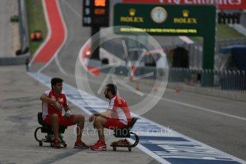 World © Octane Photographic Ltd. Scuderia Ferrari crew members marking up pit box. Wednesday 21st October 2015, F1 USA Grand Prix Set Up, Austin, Texas - Circuit of the Americas (COTA). Digital Ref: 1457LB5D2678