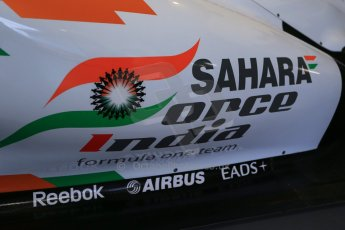 World © Octane Photographic Ltd. Donington Grand Prix Collection 25th January 2015. Sahara Force India. Force India F1 Team VJM04 sidepod (with Sahara branding - late 2011). Digital Ref:  1179CB1D0932