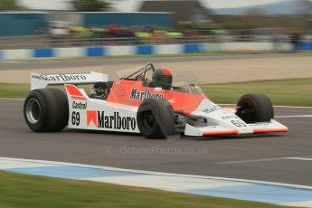 World © Octane Photographic Ltd. Saturday 2nd May 2015. Donington Historic Festival - Historic F1 Car demonstration laps. 1980 McLaren M29 (Ex John Watson and Alain Prost). Digital Ref : 1240CB1L5700