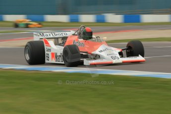 World © Octane Photographic Ltd. Saturday 2nd May 2015. Donington Historic Festival - Historic F1 Car demonstration laps. 1980 McLaren M29 (Ex John Watson and Alain Prost). Digital Ref : 1240CB1L5744