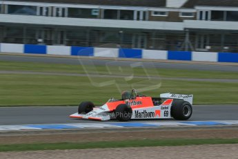 World © Octane Photographic Ltd. Saturday 2nd May 2015. Donington Historic Festival - Historic F1 Car demonstration laps. 1980 McLaren M29 (Ex John Watson and Alain Prost). Digital Ref : 1240LB1D5394