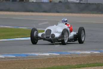 World © Octane Photographic Ltd. Saturday 2nd May 2015. Donington Historic Festival - Historic F1 Car demonstration laps. Replica Mercedes W125 (1937) – Kevin Wheatcroft. Digital Ref : 1240LB7D0975