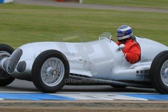 World © Octane Photographic Ltd. Saturday 2nd May 2015. Donington Historic Festival - Historic F1 Car demonstration laps. Replica Mercedes W125 (1937) – Kevin Wheatcroft. Digital Ref : 1240LB7D0996