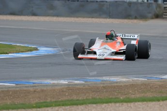 World © Octane Photographic Ltd. Saturday 2nd May 2015. Donington Historic Festival - Historic F1 Car demonstration laps. 1980 McLaren M29 (Ex John Watson and Alain Prost). Digital Ref : 1240LB7D1052