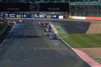 World © Octane Photographic Ltd. FIA European F3 Championship, Silverstone Race 1, UK, Saturday 11th April 2015. Prema Powerteam – Felix Rosenqvist, Dallara F312 – Mercedes-Benz leads the pack behind the safety car. Digital Ref : 1222LB1D7718