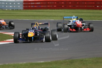 World © Octane Photographic Ltd. FIA European F3 Championship, Silverstone Race 2, UK, Saturday 11th April 2015. Carlin – Calum Ilott, Dallara F312 – Volkswagen and Prema Powerteam – Jake Dennis, Dallara F312 – Mercedes-Benz. Digital Ref : 1223LB1D8141
