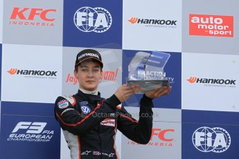 World © Octane Photographic Ltd. FIA European F3 Championship, Silverstone Race 2 rookie podium, UK, Saturday 11th April 2015. Carlin – George Russell, Dallara F312 – Volkswagen. Digital Ref : 1223LW1L0756