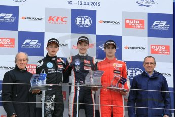 World © Octane Photographic Ltd. FIA European F3 Championship, Silverstone Race 2 rookie podium, UK, Saturday 11th April 2015. Carlin – George Russell, Dallara F312 – Volkswagen, Van Amersfoort Racing – Charles Leclerc, Dallara F312 – Volkswagen, Prema Powerteam – Lance Stroll, Dallara F312 – Mercedes-Benz and Stefano Domenicali - President of FIA Single Seater Commision. Digital Ref : 1223LW1L0770