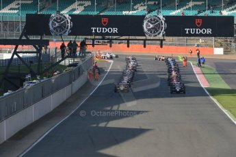 World © Octane Photographic Ltd. FIA European F3 Championship, Silverstone Race 3, UK, Sunday 12th April 2015. The grid forms up for the green flag lap. Digital Ref : 1224LB1D8257