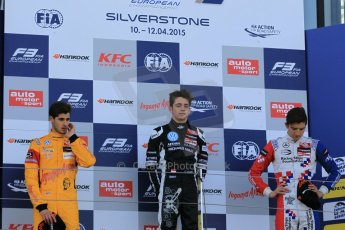 World © Octane Photographic Ltd. FIA European F3 Championship, Silverstone Race 3 overall podium, UK, Sunday 12th April 2015. Van Amersfoort Racing – Charles Leclerc, Dallara F312 – Volkswagen, Jagonya Ayam with Carlin – Antonia Giovinazzi, Dallara F312 – Volkswagen and Prema Powerteam – Jake Dennis, Dallara F312 – Mercedes-Benz. Digital Ref : 1224LW1L0909