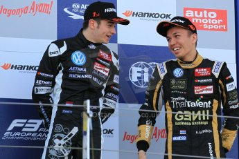 World © Octane Photographic Ltd. FIA European F3 Championship, Silverstone Race 3 rookie podium, UK, Sunday 12th April 2015. Van Amersfoort Racing – Charles Leclerc and Signature – Alexander Albon, Dallara F312 – Volkswagen. Digital Ref : 1224LW1L1007