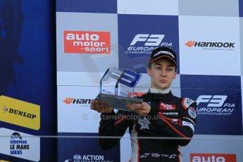 World © Octane Photographic Ltd. FIA European F3 Championship, Silverstone Race 3 rookie podium, UK, Sunday 12th April 2015. Carlin – George Russell, Dallara F312 – Volkswagen. Digital Ref : 1224LW1L1039