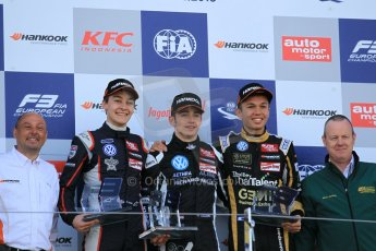 World © Octane Photographic Ltd. FIA European F3 Championship, Silverstone Race 3 rookie podium, UK, Sunday 12th April 2015. Van Amersfoort Racing – Charles Leclerc, Dallara F312 – Volkswagen, Carlin – George Russell, Dallara F312 – Volkswagen and Signature – Alexander Albon, Dallara F312 – Volkswagen. Digital Ref : 1224LW1L1059