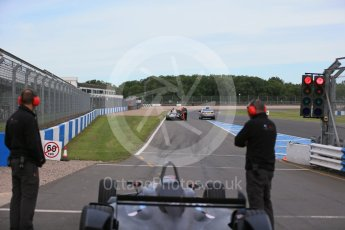 World © Octane Photographic Ltd. FIA Formula E testing – Donington Park 11th August 2015, Venturi VM200-FE-01. Venturi – Jacques Villeneuve stopped on track. Digital Ref : 1367LB1D4683