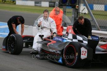 World © Octane Photographic Ltd. FIA Formula E testing – Donington Park 11th August 2015, Venturi VM200-FE-01. Venturi – Jacques Villeneuve stopped on track. Digital Ref : 1367LB1D4695