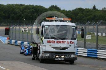 World © Octane Photographic Ltd. FIA Formula E testing – Donington Park 17th August 2015, Andretti ATEC-01. Amlin-Andretti – Simona di Silvestro being recovered back to pitlane. Digital Ref : 1368LB1D5362