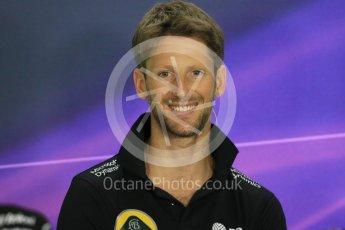 World © Octane Photographic Ltd. FIA Drivers' Press Conference. Thursday 23rd July 2015, F1 Hungarian GP, Hungaroring, Hungary. Lotus F1 Team – Romain Grosjean. Digital Ref: 1345LB1D7476