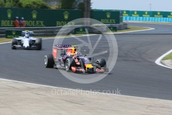 World © Octane Photographic Ltd. Infiniti Red Bull Racing RB11 – Daniil Kvyat and Williams Martini Racing FW37 – Valtteri Bottas. Friday 24th July 2015, F1 Hungarian GP Practice 2, Hungaroring, Hungary. Digital Ref: 1348CB1L5424