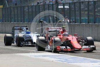 World © Octane Photographic Ltd. Scuderia Ferrari SF15-T– Kimi Raikkonen and Williams Martini Racing FW37 – Felipe Massa. Saturday 25th July 2015, F1 Hungarian GP Practice 3, Hungaroring, Hungary. Digital Ref: 1352LB1D0386