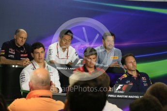 World © Octane Photographic Ltd. FIA Team Personnel Press Conference. Friday 24th July 2015, F1 Hungarian GP, Hungaroring, Hungary. Yasuhisa Arai – Honda Head of Motorsport, Paul Hembrey – Pirelli Motorsport Director, Christian Horner – Infiniti Red Bull Racing Team Principle, Graeme Lowdon - Chief Executive Officer of the Manor Formula One team, Franz Tost – Scuderia Toro Rosso Team Principle and Toto Wolff – Mercedes AMG Petronas Executive Director. Digital Ref: 1351LB5D0712