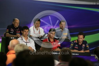 World © Octane Photographic Ltd. FIA Team Personnel Press Conference. Friday 24th July 2015, F1 Hungarian GP, Hungaroring, Hungary. Yasuhisa Arai – Honda Head of Motorsport, Paul Hembrey – Pirelli Motorsport Director, Christian Horner – Infiniti Red Bull Racing Team Principle, Graeme Lowdon - Chief Executive Officer of the Manor Formula One team, Franz Tost – Scuderia Toro Rosso Team Principle and Toto Wolff – Mercedes AMG Petronas Executive Director. Digital Ref: 1351LB5D0718
