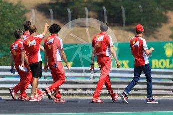 World © Octane Photographic Ltd. Scuderia Ferrari SF15-T– Sebastian Vettel and Esteban Gutierrez. Thursday 23rd July 2015, F1 Hungarian GP track walk, Hungaroring, Hungary. Digital Ref: 1343CB7D7834