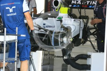 World © Octane Photographic Ltd. Williams Martini Racing FW37. Thursday 23rd July 2015, F1 Hungarian GP Pitlane, Hungaroring, Hungary. Digital Ref: 1343LB5D0030