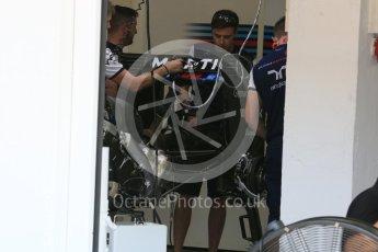 World © Octane Photographic Ltd. Williams Martini Racing FW37. Thursday 23rd July 2015, F1 Hungarian GP Pitlane, Hungaroring, Hungary. Digital Ref: 1343LB5D0034