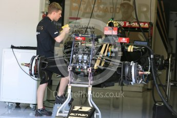 World © Octane Photographic Ltd. Lotus F1 Team E23 Hybrid – Pastor Maldonado. Thursday 23rd July 2015, F1 Hungarian GP Pitlane, Hungaroring, Hungary. Digital Ref: 1343LB5D0109