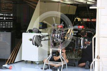 World © Octane Photographic Ltd. Lotus F1 Team E23 Hybrid – Romain Grosjean. Thursday 23rd July 2015, F1 Hungarian GP Pitlane, Hungaroring, Hungary. Digital Ref: 1343LB5D0116