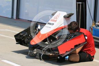 World © Octane Photographic Ltd. Manor Marussia F1 Team MR03B. Thursday 23rd July 2015, F1 Hungarian GP Pitlane, Hungaroring, Hungary. Digital Ref: 1343LB5D0139