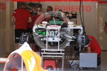 World © Octane Photographic Ltd. Manor Marussia F1 Team MR03B – Roberto Merhi. Thursday 23rd July 2015, F1 Hungarian GP Pitlane, Hungaroring, Hungary. Digital Ref: 1343LB5D0147