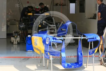 World © Octane Photographic Ltd. Sauber F1 Team C34-Ferrari – Felipe Nasr. Thursday 23rd July 2015, F1 Hungarian GP Pitlane, Hungaroring, Hungary. Digital Ref: 1343LB5D0154