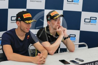 World © Octane Photographic Ltd. Saturday 25th July 2015. DAMS – Alex Lynn (1st), and Pierre Gasly (2nd) - Sirotkin had withdrawn from the conference at this point. GP2 Race 1 – Hungaroring, Hungary. Digital Ref. : 1354CB1L6886