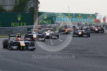 World © Octane Photographic Ltd. Saturday 25th July 2015. DAMS – Alex Lynn leads the pack on the opening lap. GP2 Race 1 – Hungaroring, Hungary. Digital Ref. : 1354CB7D8781