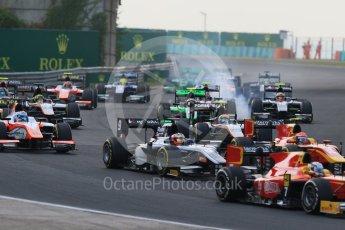World © Octane Photographic Ltd. Saturday 25th July 2015. Close fighting into turn 3. GP2 Race 1 – Hungaroring, Hungary. Digital Ref. : 1354CB7D8802