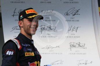 World © Octane Photographic Ltd. Saturday 25th July 2015. DAMS – Pierre Gasly (2nd). GP2 Race 1 podium – Hungaroring, Hungary. Digital Ref. : 1354CB7D8914