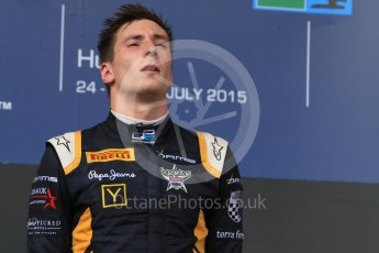 World © Octane Photographic Ltd. Saturday 25th July 2015. DAMS – Pierre Gasly (2nd). GP2 Race 1 podium – Hungaroring, Hungary. Digital Ref. : 1354CB7D8949
