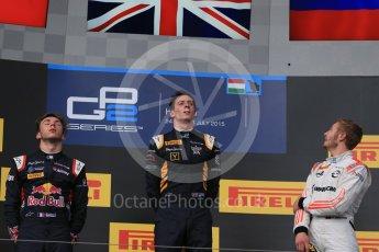 World © Octane Photographic Ltd. Saturday 25th July 2015. DAMS – Alex Lynn (1st), and Pierre Gasly (2nd) and Rapax – Sergey Sirotkin (provisional 3rd). GP2 Race 1 podium – Hungaroring, Hungary. Digital Ref. : 1354LB1D1570