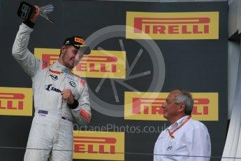 World © Octane Photographic Ltd. Saturday 25th July 2015. Rapax – Sergey Sirotkin (provisional 3rd). GP2 Race 1 podium – Hungaroring, Hungary. Digital Ref. : 1354LB1D1599