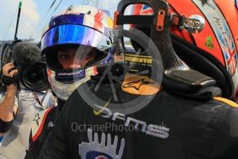 World © Octane Photographic Ltd. Saturday 25th July 2015. DAMS – Alex Lynn (1st) and Pierre Gasly (2nd). GP2 Race 1 parc ferme – Hungaroring, Hungary. Digital Ref. : 1354LW1L6744