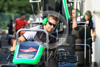 World © Octane Photographic Ltd. Friday 24th July 2015. Status Grand Prix pit team on the way! GP3 Practice Session – Hungaroring, Hungary. Digital Ref. : 1350CB1L5901