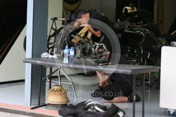 World © Octane Photographic Ltd. Lotus F1 Team E23 Hybrid – Romain Grosjean. Thursday 3rd September 2015, F1 Italian GP Paddock, Monza, Italy. Digital Ref: 1400LB5D8078