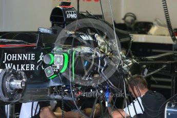 World © Octane Photographic Ltd. McLaren Honda MP4/30 radiator and wiring detail. Thursday 3rd September 2015, F1 Italian GP Paddock, Monza, Italy. Digital Ref: 1400LB5D8124